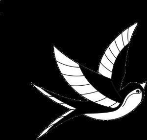 moitié du logo de l'oiseau vent : l'oiseau du vent
