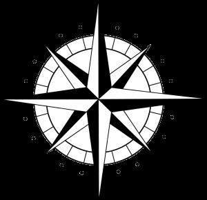 moitié du logo de l'oiseau vent : la rose des vents